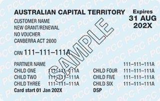 Sample Pensioner Concession Card side 1