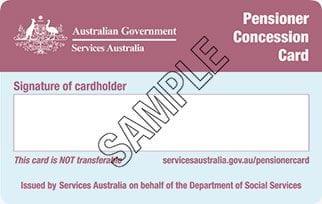 Sample Pensioner Concession Card side 2