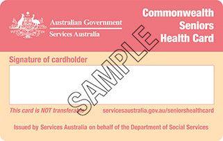 Sample of Commonwealth Seniors Health Card side 2