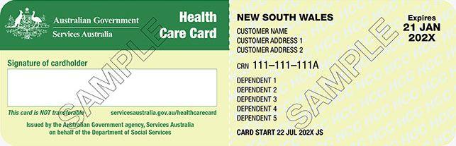 Sample health care card