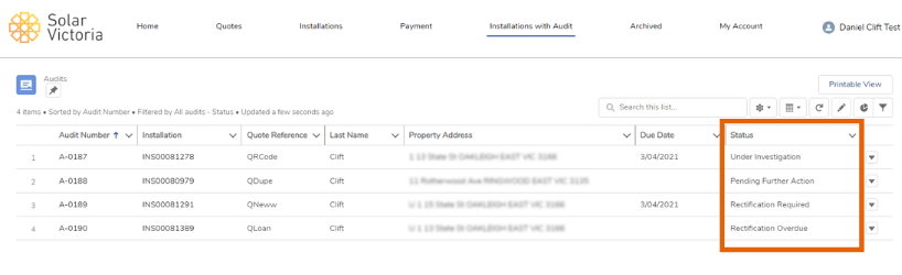 Screenshot showing the 'installations with audit' tab in the poral
